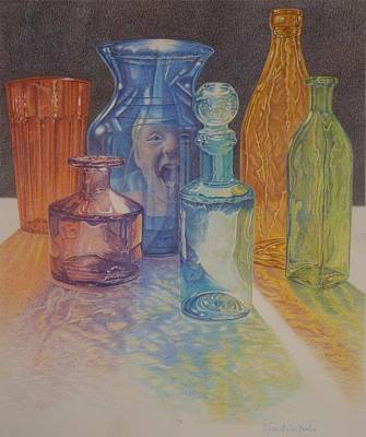 Don't Break The Glass, Colored Glass Bottles With Colorful Reflection Poster by Terri Melia - Hamlin