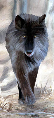 Poster featuring the painting Gray Wolf Treading Carefully by James Shepherd