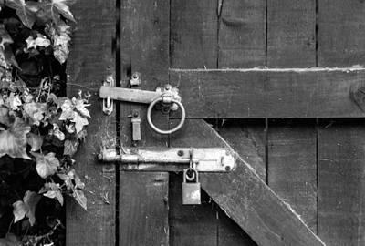 Door Bolt And Lock Monochrome Poster by Jeff Townsend