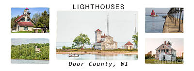Door County Lighthouse Collection Poster by Nikki Vig