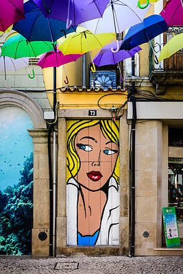 Door No 73 And The Floating Umbrellas Poster
