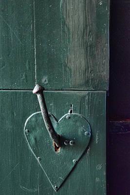 Door With Heart Shape Handle Poster