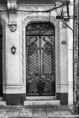Doors Of Cuba Yellow Door Bw Poster