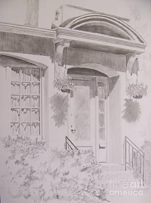 Poster featuring the drawing Doorway by Jackie Mueller-Jones