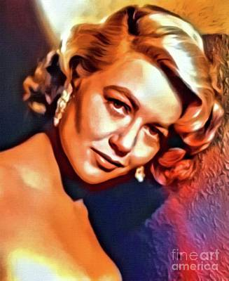 Dorothy Malone, Vintage Actress. Digital Art By Mb Poster by Mary Bassett