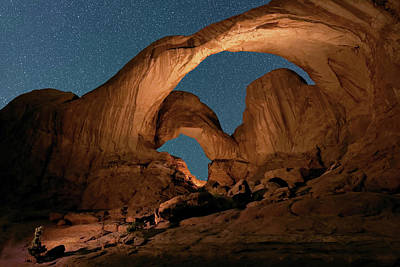 Double Arch And The Milky Way - Arches National Park - Moab, Utah. Poster