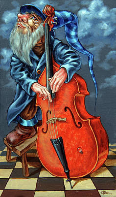 Double Bass And Bench Poster