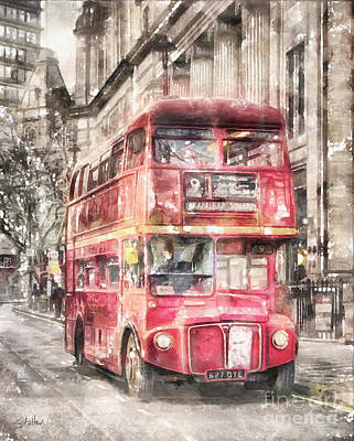 Double-decker Red Bus Of London Poster by Shirley Stalter