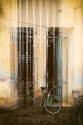 Double Exposure Bicycle Cuba Poster