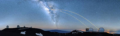 Double Lasers With The Milky Way Panorama Poster