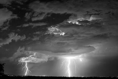 Double Lightning Strikes In Black And White Poster