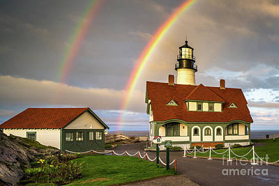 Double Rainbow At Portland Head Light Poster