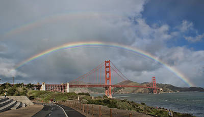Poster featuring the photograph Double Rainbow Golden Gate Bridge by Steve Siri