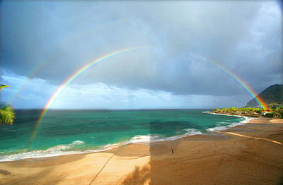 Double Rainbow Over Turtle Beach Poster