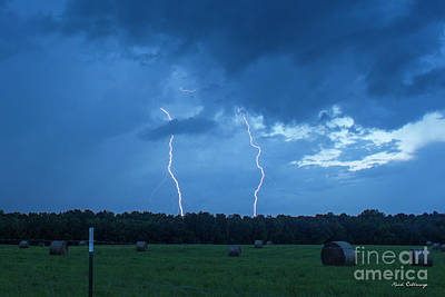 Double Trouble Dusk Thunderstorm Lightning Weather Art Poster