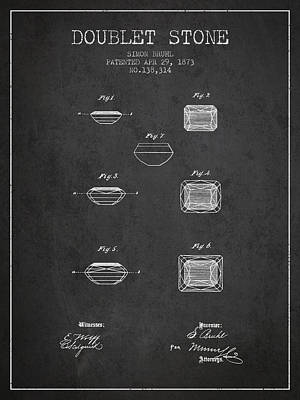 Doublet Stone Patent From 1873 - Charcoal Poster by Aged Pixel