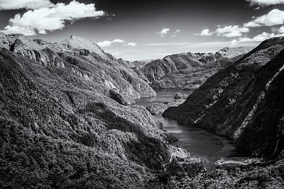 Doubtful Sound New Zealand From Wilmot Pass Bw Poster by Joan Carroll