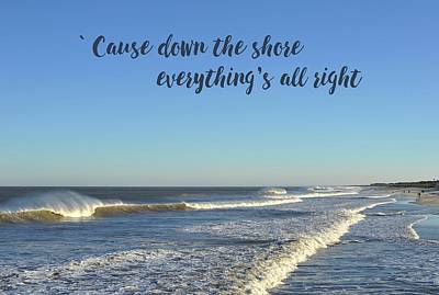 Down The Shore Seaside Heights Blue Quote Poster by Terry DeLuco