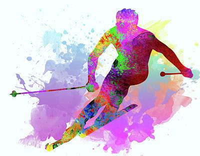 Downhill Skier Poster by Elena Kosvincheva