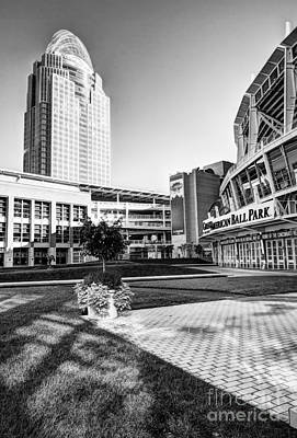 Downtown At The Ballpark 2 Bw Poster by Mel Steinhauer