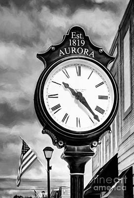 Downtown Aurora Indiana Black And White Poster