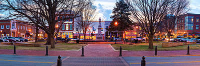 Poster featuring the photograph Downtown Bentonville Arkansas Town Square Panoramic  by Gregory Ballos