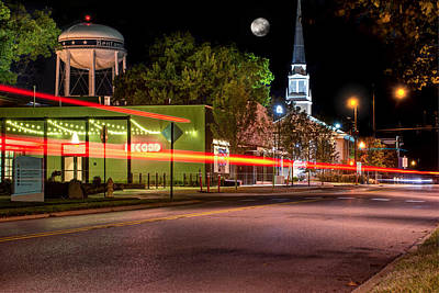 Downtown Bentonville Under A Full Moon Poster by Gregory Ballos