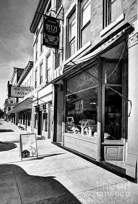 Downtown Brookville Indiana # 2 Black And White Poster by Mel Steinhauer