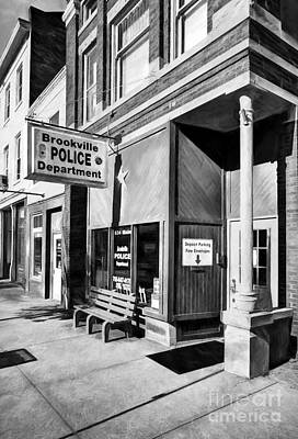 Downtown Brookville Indiana Black And White Poster by Mel Steinhauer