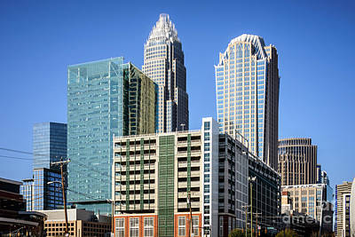 Downtown Charlotte North Carolina Buildings Poster by Paul Velgos