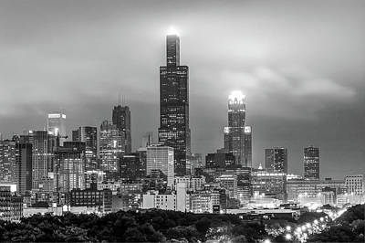 Downtown Chicago Skyline In Black And White  Poster by Gregory Ballos