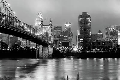 Poster featuring the photograph Downtown Cincinnati City Skyline - Black And White by Gregory Ballos