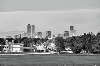 Poster featuring the photograph Downtown Denver Skyline - Black And White by Gregory Ballos
