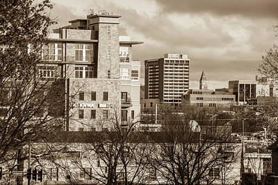 Downtown Fayetteville Arkansas Skyline - Dickson Street - Sepia Edition. Poster by Gregory Ballos