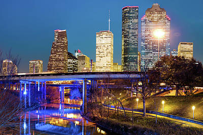Downtown Houston City Skyline At Night On The Buffalo Bayou Poster by Gregory Ballos
