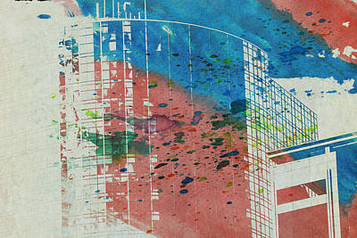 Downtown Houston Watercolor 1 Poster by Bartz Johnson