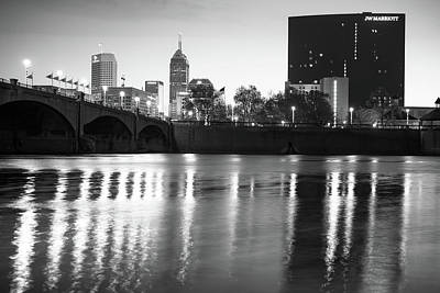 Downtown Indianapolis City Skyline - Black And White Poster
