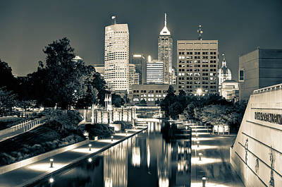 Poster featuring the photograph Downtown Indianapolis Indiana Skyline In Sepia by Gregory Ballos