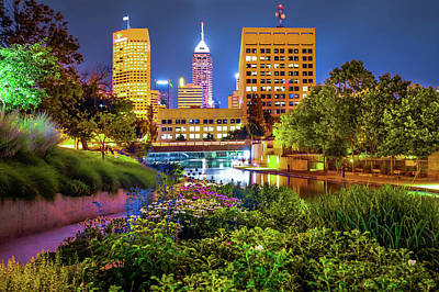 Poster featuring the photograph Downtown Indianapolis Skyline At Night by Gregory Ballos
