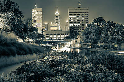 Downtown Indianapolis Skyline At Night - Sepia Poster by Gregory Ballos
