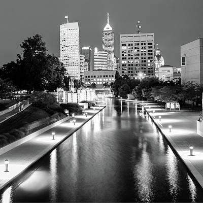 Downtown Indy Skyline - Indianapolis Indiana Black-white 1x1 Poster