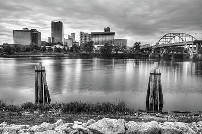 Downtown Little Rock Arkansas Skyline On The Water - Black And White Poster by Gregory Ballos