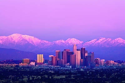 Downtown Los Angeles In Winter Poster