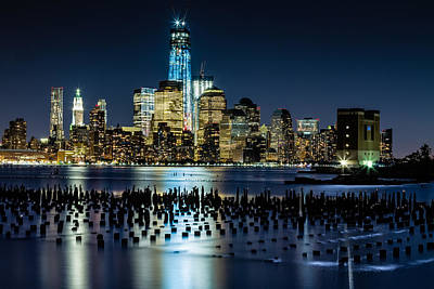 Downtown Manhattan And Old Pier Remains Poster