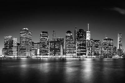 Poster featuring the photograph Downtown Manhattan Bw by Az Jackson