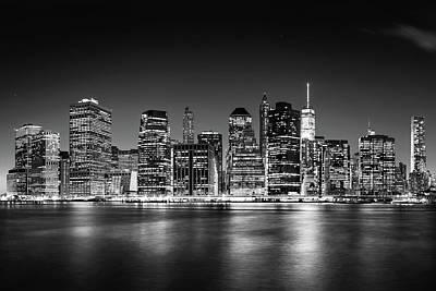 Downtown Manhattan Bw Poster by Az Jackson