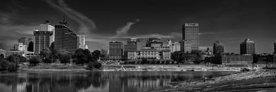 Downtown Memphis Skyline 002 Bw Poster by Lance Vaughn