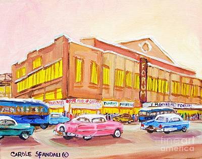 Downtown Montreal Hockey Forum Vintage Montreal Art  Poster by Carole Spandau