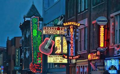 Downtown Nashville At Dusk Poster by Dan Sproul