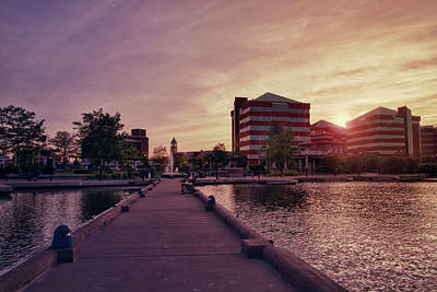 Poster featuring the photograph Downtown Neenah Sunset by Joel Witmeyer